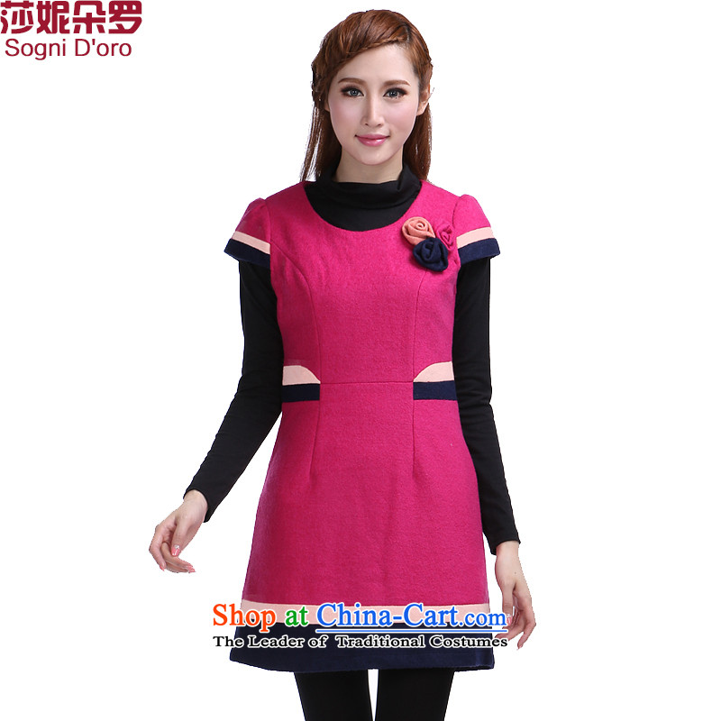 The latte macchiato, Shani to increase women's燽urden of code 200 mm thick winter clothing Korean round-neck collar video a gross thin dresses 6,387 rose red�L