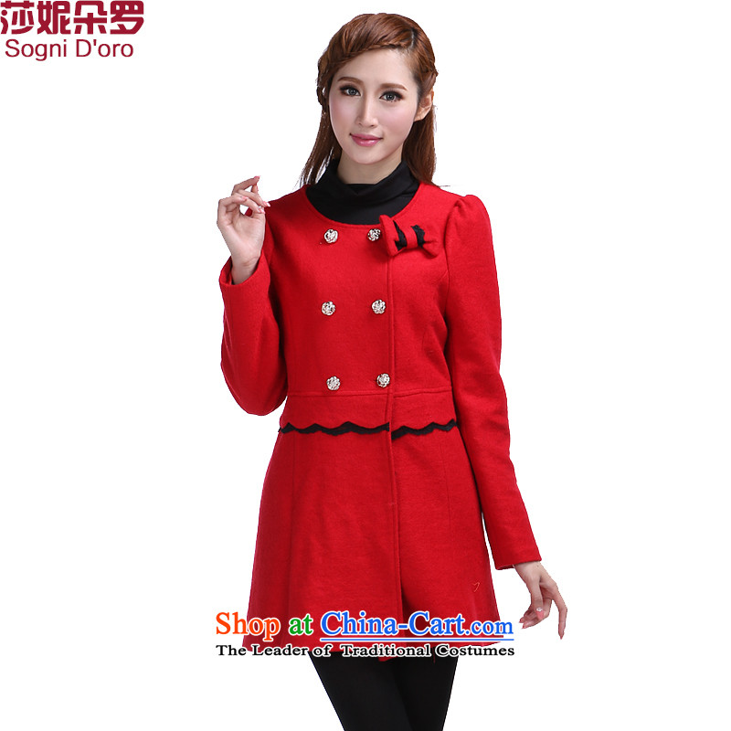 Luo Shani flower code women for winter fat mm to xl graphics thin Korean double-jacket in gross? long red�L 6 388