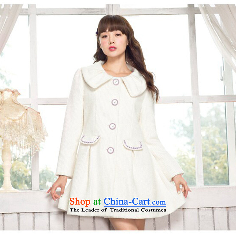 Lok-machi 2015 Winter New Date of sweet female pocket lace coats C1AA34704 whiteS