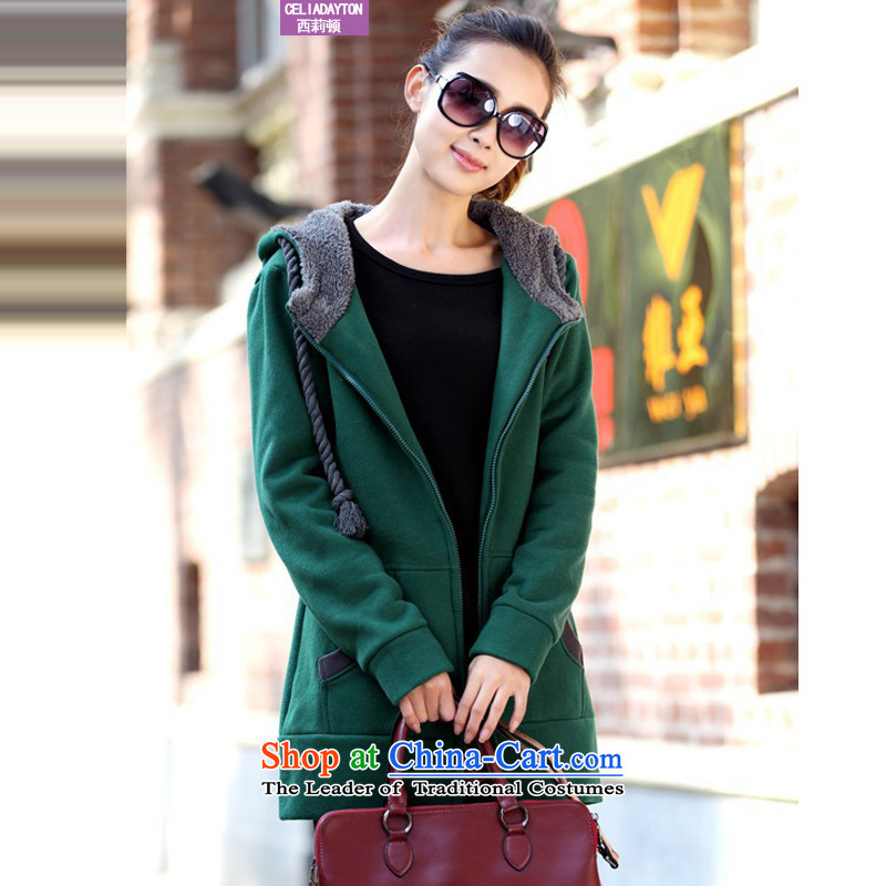 Szili Clinton to increase women's code 2015 Autumn new_ in mm thick long loose Draw thicker cap members lint-free jacket cardigan 200 catties woolen sweater聽XXXXL Dark Green
