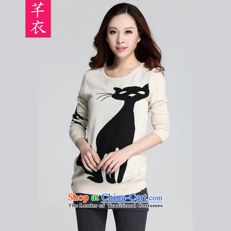 Xl blouses 2015 new kumabito kitten alike long-sleeved Knitted Shirt thick sister Fall/Winter Collections fresh lovely temperament woolen pullover, forming the Netherlands light beige 3XL 145-160 catty