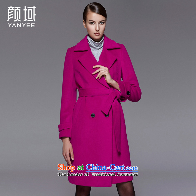 Mr NGAN domain 2015 autumn and winter new Product Codes Korean girl in gross? jacket long strap double-a wool coat 04W4597 better L_40 red