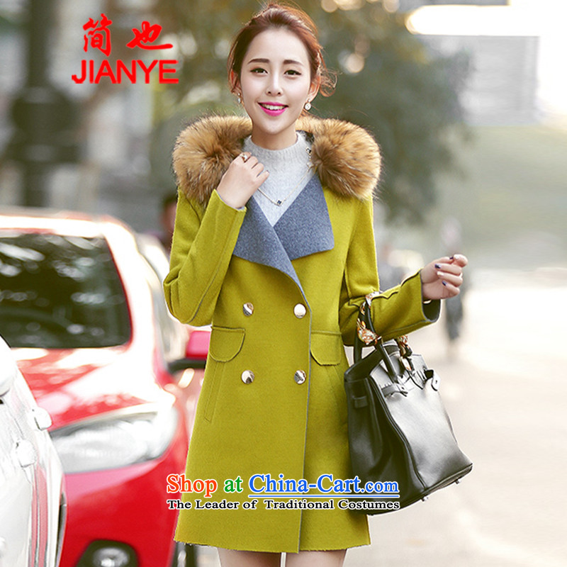 Jane can also� fall and winter 2014 new gross external version won? Long lapel a wool coat cloak? female 996_ gross jacket fruit green燬