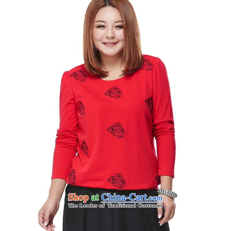 Msshe xl long-sleeved T-shirt Sau San video thin red聽3XL