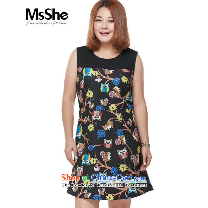 Msshe xl women 2015 new fall thick sister Stamp   replacing video thin vest dresses 2,387 carats black�L