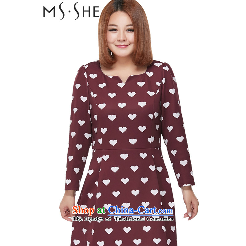 Msshe xl female stamp long-sleeved dresses autumn 2015 replacing mahogany and collar stamp graphics thin long-sleeved dresses 2218 Bourdeaux�L