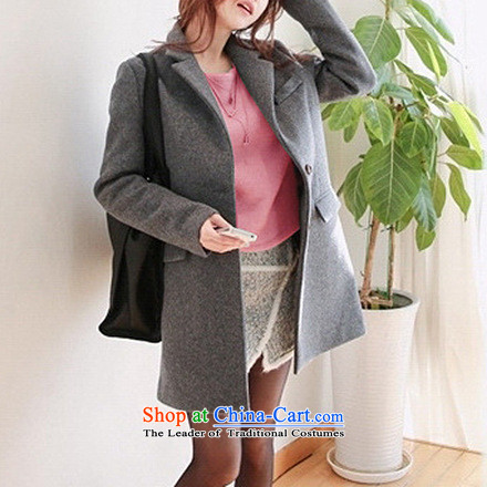 La4 for autumn and winter new Korean female suits for cashmere overcoat spend a wool coat Gray L-Advanced Customization