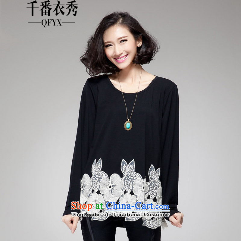 Double Chin Yi Su-large female to long-sleeved T-shirt loose cotton stretch embroidery spell checker shirt Q6807 forming the wild BlackXXXXL 155-170 recommended