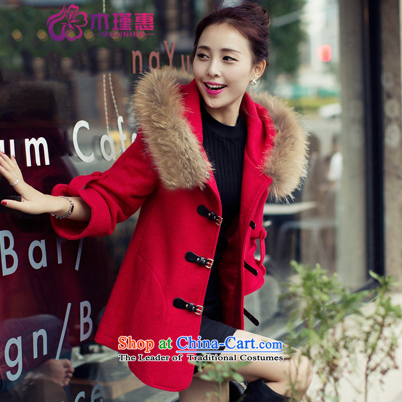 Wooden Geun-hye 2015 winter new Korean girl in gross? jacket long Nuclear Sub for gross a wool coat 880 Chinese red燤