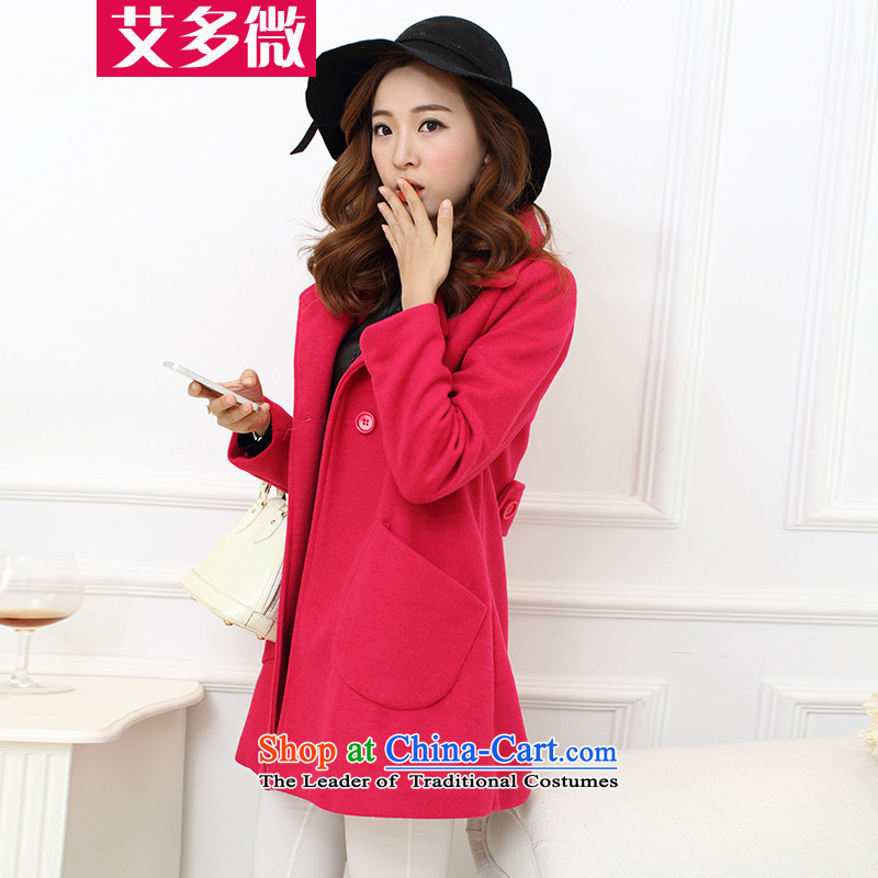 More Micro�15 Autumn HIV boxed? jacket Korean gross in long lapel a wool coat cloak female video thin in the Red燤