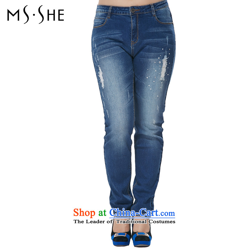 Msshe xl women 2015 new Korean version in the drill Top Loin ironing leisure video thin jeans 7882 Denim blue T4