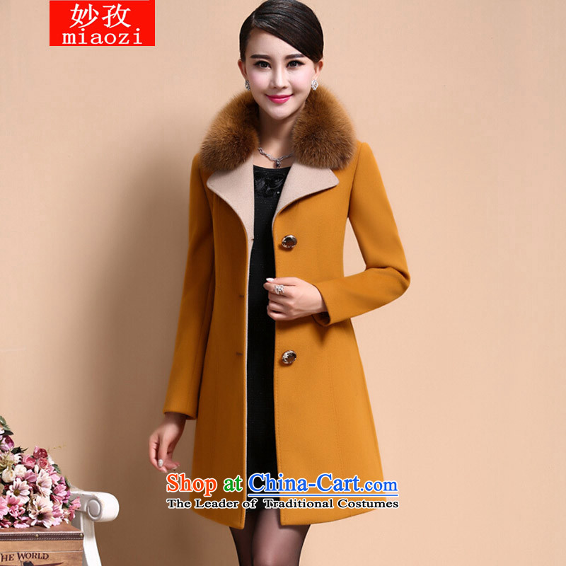 Mya Zi 2015 autumn and winter new long suit in Sau San for gross large jacket coat is medium to long term, a wool coat Yellow M