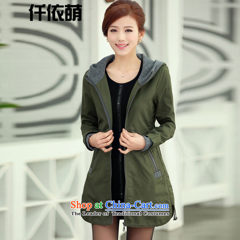 Sophie utilize 2015 Fall_Winter Collections in long large graphics thin coat 820 Army GreenXXL_130-150 catties_