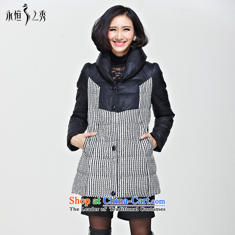 The Eternal Sau 2014 large female mm thick winter clothing new Korean Foutune of warm Cotton Thin Graphics Sau San jacket map color XL