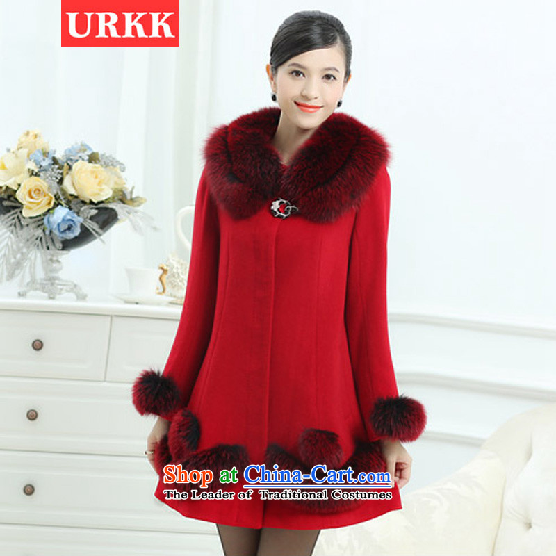 Winter_ Ms. URKK2014 high-end Fox for long, gross billowy flounces? jacket coat Korean female red XXXL cashmere