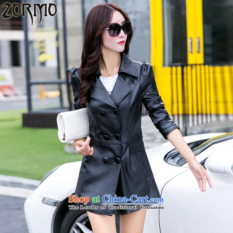 燭he Korean version of the female ZORMO autumn and winter fat mm to xl PU. Ms. windbreaker. Long lapel leather garments black�L 180-200 catty
