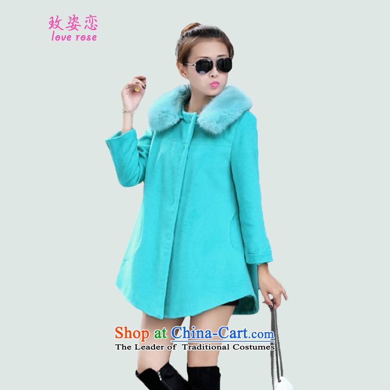 In 2014 Winter Land Gigi Lai new coats female Korea gross? Edition Fall_Winter Collections gross? Simple Sau San Mao jacket coat gross?? female blue燲XXL Coats