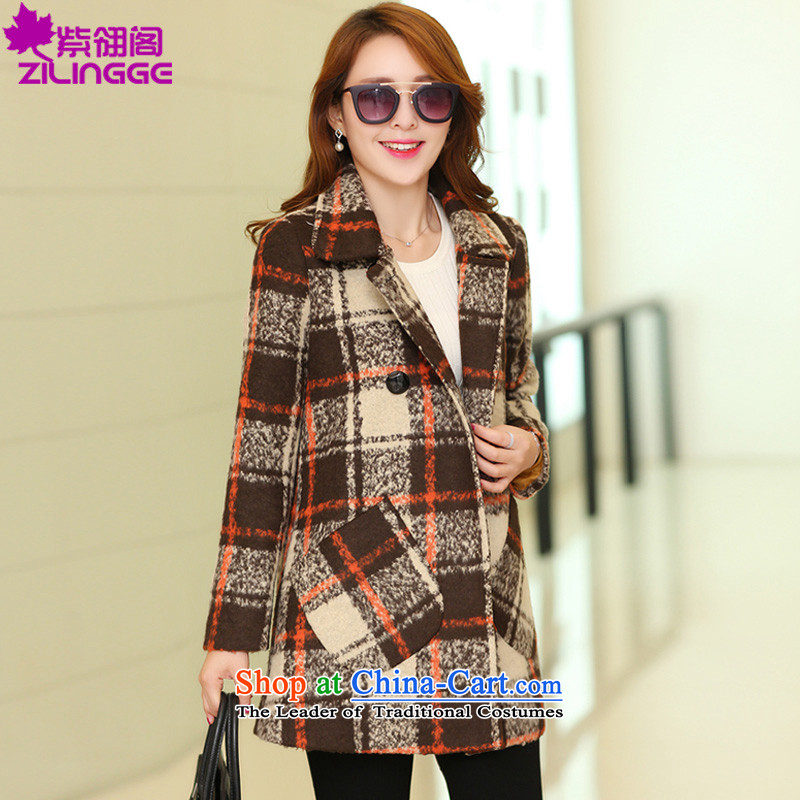 The first version of the 2015 Korean Pavilion Ling new autumn and winter Fox for long, Gross Gross female jacket coat? S-109 Cashmere wool brown L