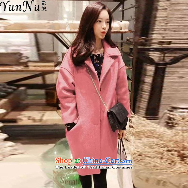 The following slave gross coats autumn and winter? Korean relaxd stylish duplex?? jacket female xy1368 gross light pinkXL