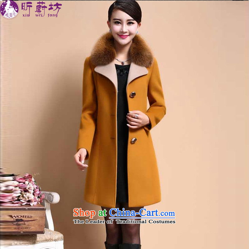 The litany of Workshop 2014 winter clothing in new long hair for female jacket coat gross? X6129燲XXL yellow