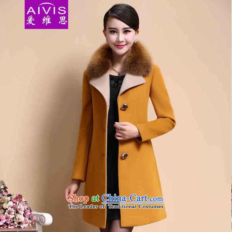 Love Rowse聽2015 autumn and winter new Women's jacket in a long hair collar cashmere overcoat so gross yellow聽XXXX