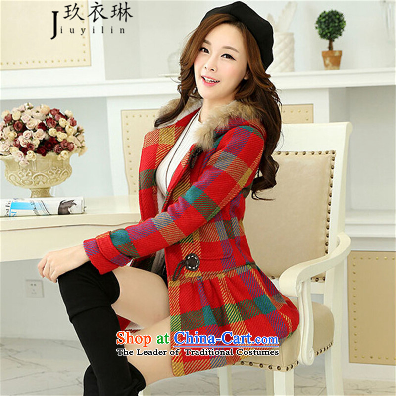 Ko Yo Yi Lin 2015 autumn and winter new women in Korean long hair loose hair? jacket Korea for a wool coat female picture color L