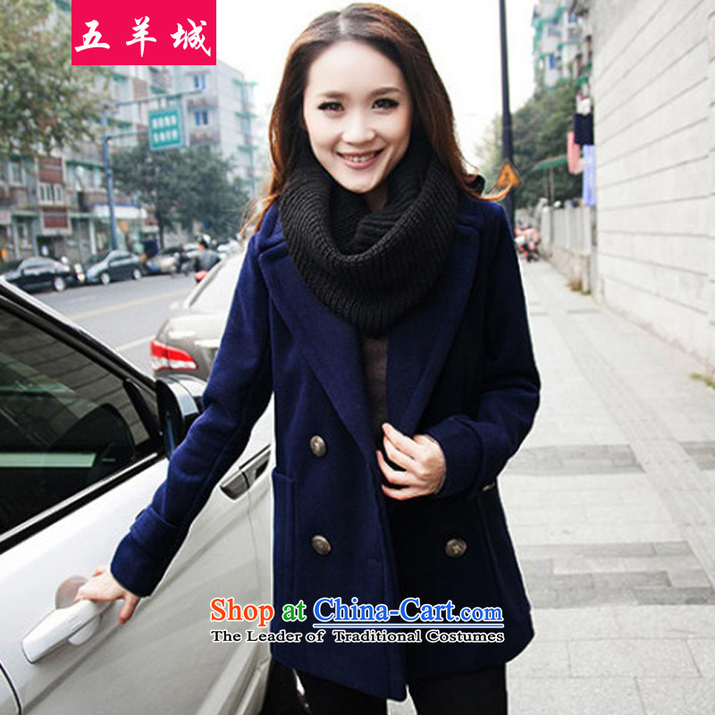 Five Rams City larger female jackets2015 new Korean Edition to increase the number of women with thick MM thick hair fall/winter coats jacket women? 172 Tibetan blueXXL/130-165 catty