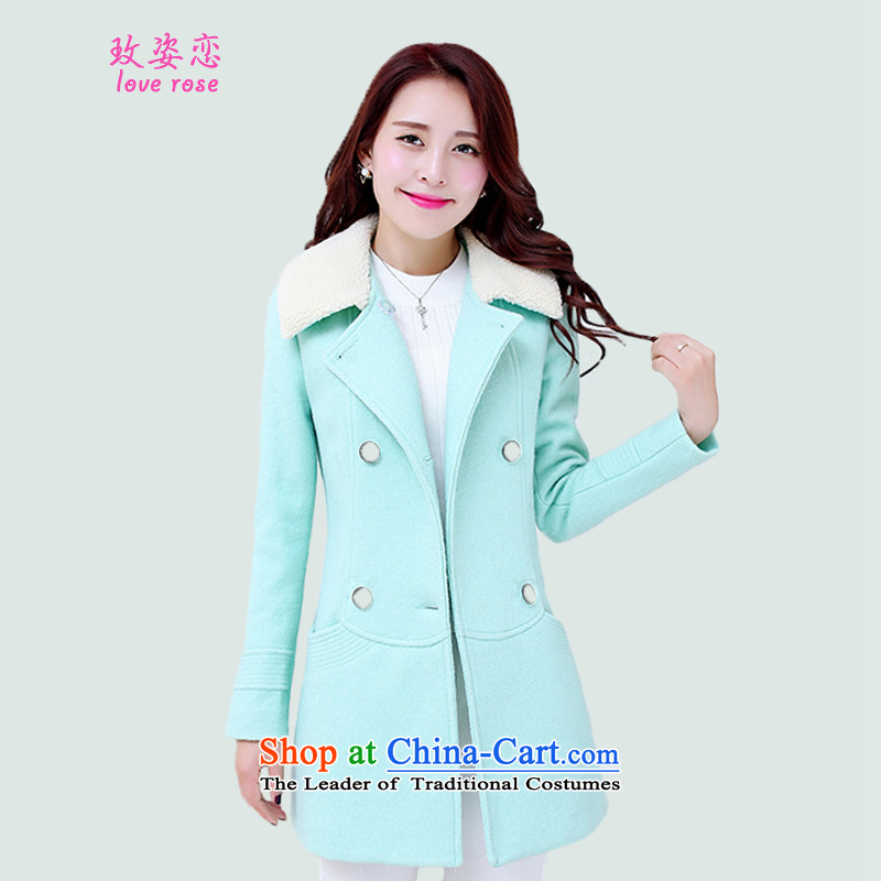 In 2014 Winter Land Gigi Lai new coats female Korea gross? Edition Fall_Winter Collections gross? Simple Jacket Sau San Lamb Wool washable wool jacket coat female green gross?燲XL