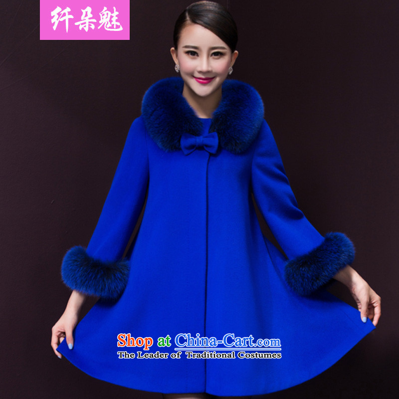 Small Flower of聽2015 winter clothing new women in large retro long cloak cashmere overcoat gross? female R1035 jacket royal blue聽4XL