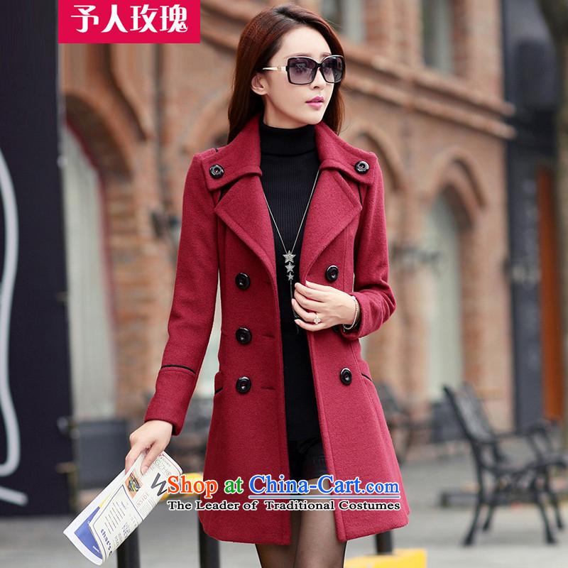Be 2015 Autumn and Winter Rose New Women Korean gross? cashmere sweater   t-shirt, long a wool coat 837 wine red燲L