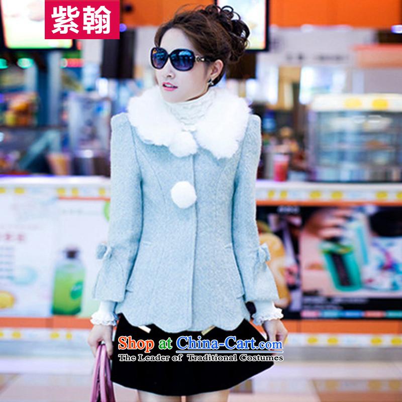 The first Han gross?燼utumn and winter coats women 2015 new Korean female wool sweater gross?? coats female blue燲L