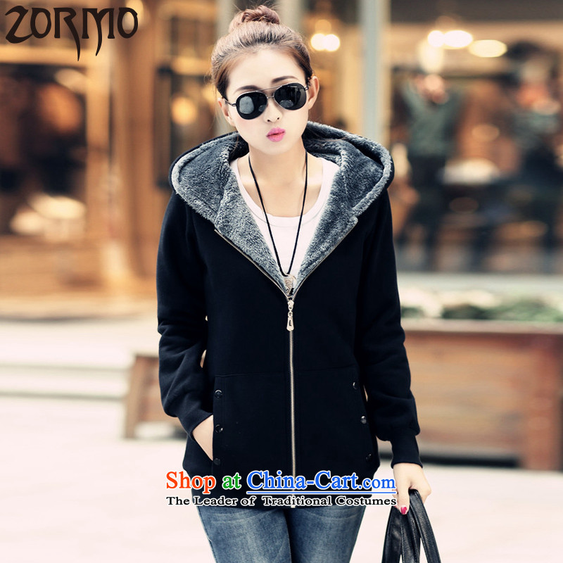 The Korean version of large numbers ZORMO female autumn and winter, thick wool sweater mm thick girls to increase the number of female black 6XL jacket 190-215 catty