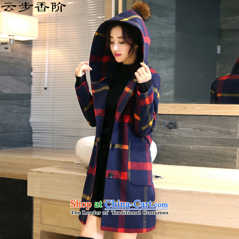 Step cloud of incense to the 2015 Fall_Winter Collections new Korean cap in long coats_? sub-folder cotton wool is thick coats of Tianjin Red yellow femaleXXLsize is too small a code option