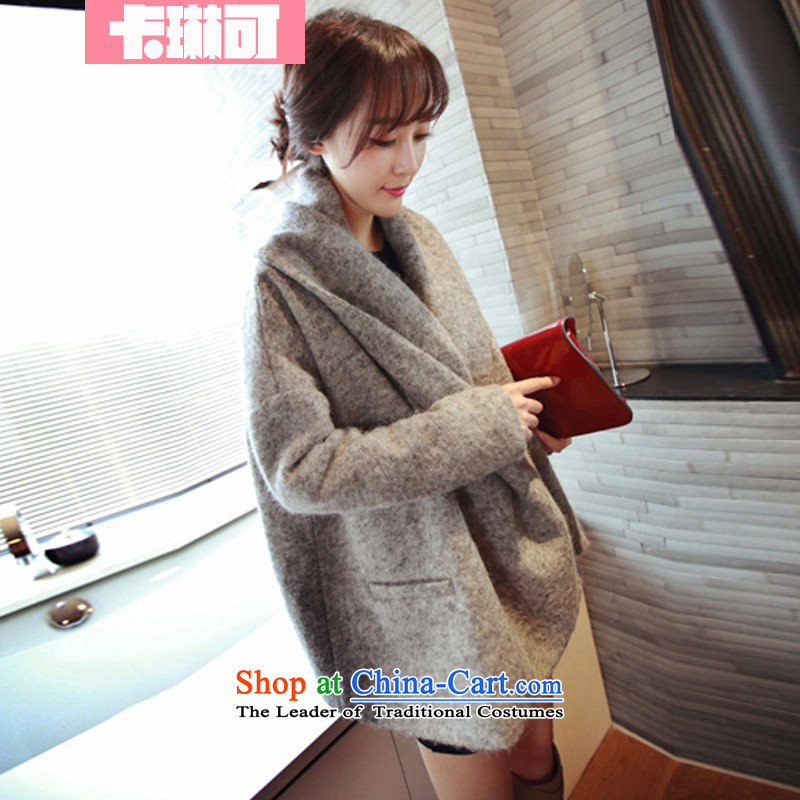 Carleen gross coats female Korean so stylish latticed gross flows of jacket?�14 autumn and winter New Sau San cloak? Spend gray overcoat gross燬