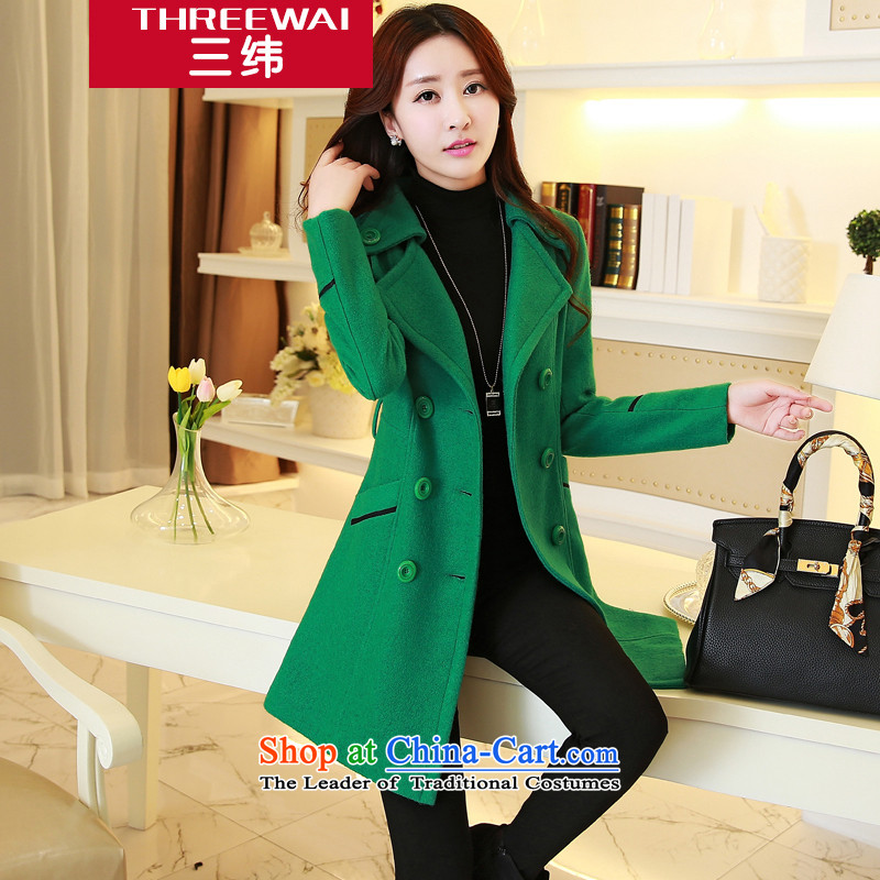 The three courses of this 2015 New Women's jacket, long coats gross? female double-cashmere a wool coat, wool amako coats of Sau San Green M
