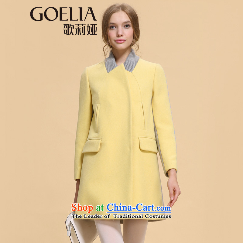 Song Leah GOELIA winter clothing new ribbed collar Small type A long coats 14DJ6E100 Y22_ M_160_84A_ yellow