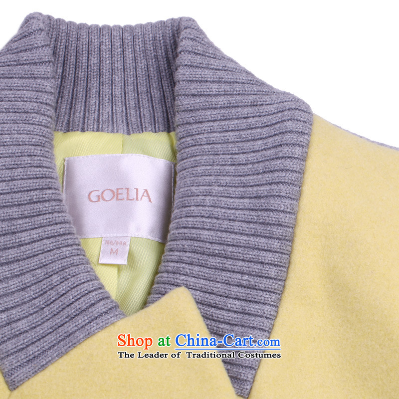 Song Leah GOELIA winter clothing new ribbed collar Small type A long coats 14DJ6E100 Y22# yellow M(160/84a), Song Leah GOELIA () , , , shopping on the Internet