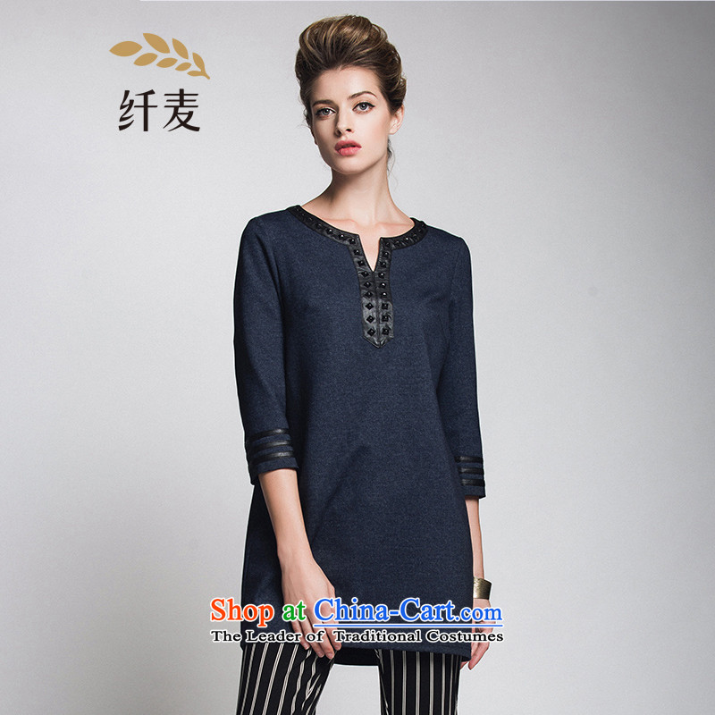 The former Yugoslavia Migdal Code women 2015 Autumn replacing new stylish mm thick V-neck in long-sleeved T-shirt of 7 to 944365120 blue 2XL