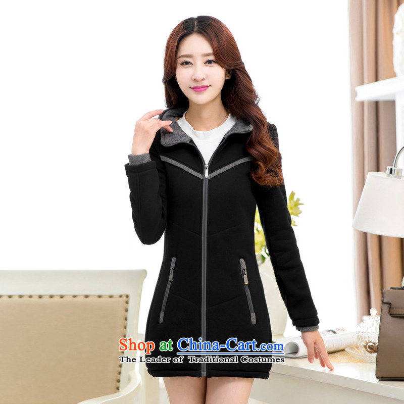 2015 Autumn and winter new Korean women xl plus the lint-free cotton waffle warm with cap Sau San Wai jacket video thin black (plus) XXXL lint-free cotton swab