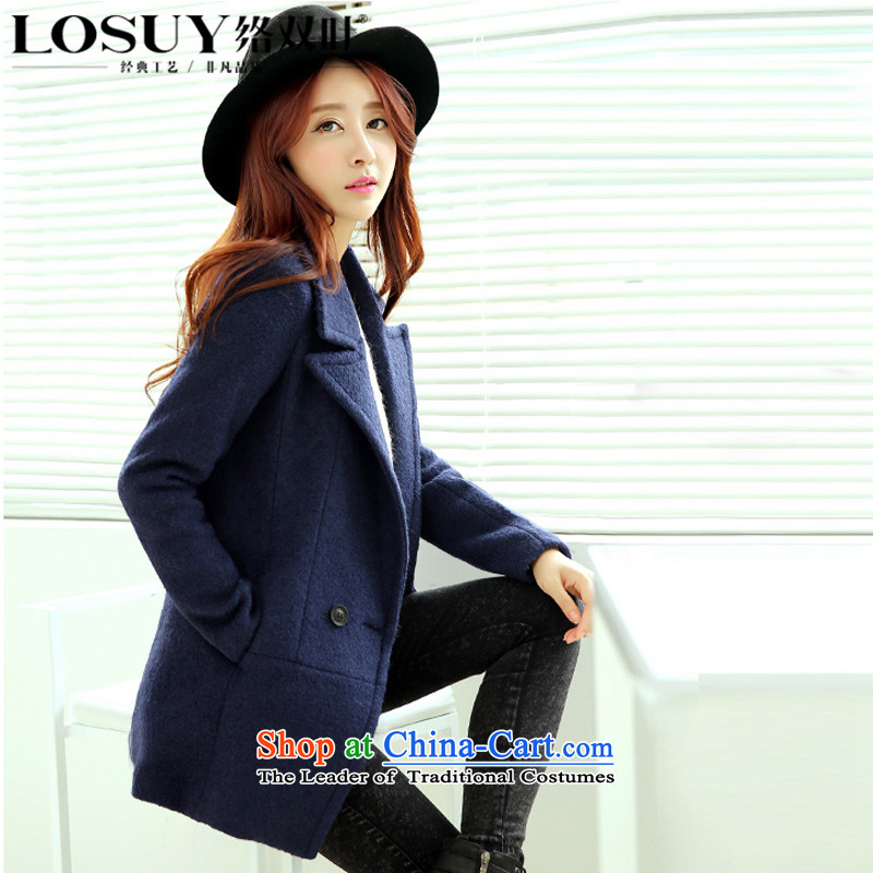 Contact Us dual leaf new for women 2015 Fall_Winter Collections in the Korean long jacket suits for gross? double-long-sleeved gross? coats of Sau San possession of燬