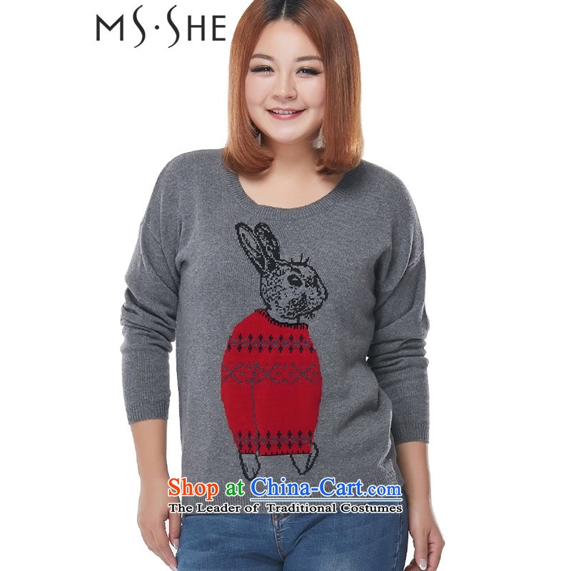 Msshe xl women 2015 winter new mm thick wild pattern graphics thin warm sweater pullovers 2293 carbon�L