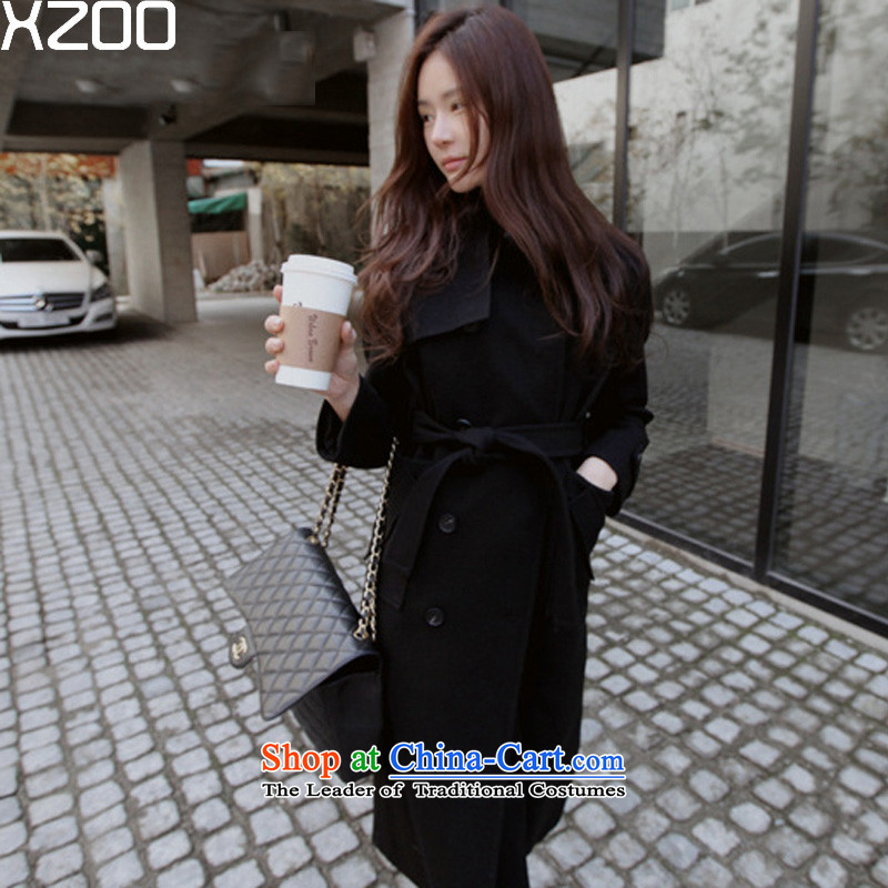 Wool coat women XZOO2015? jackets for winter Korean double-long 8411-2 in Ms. black S