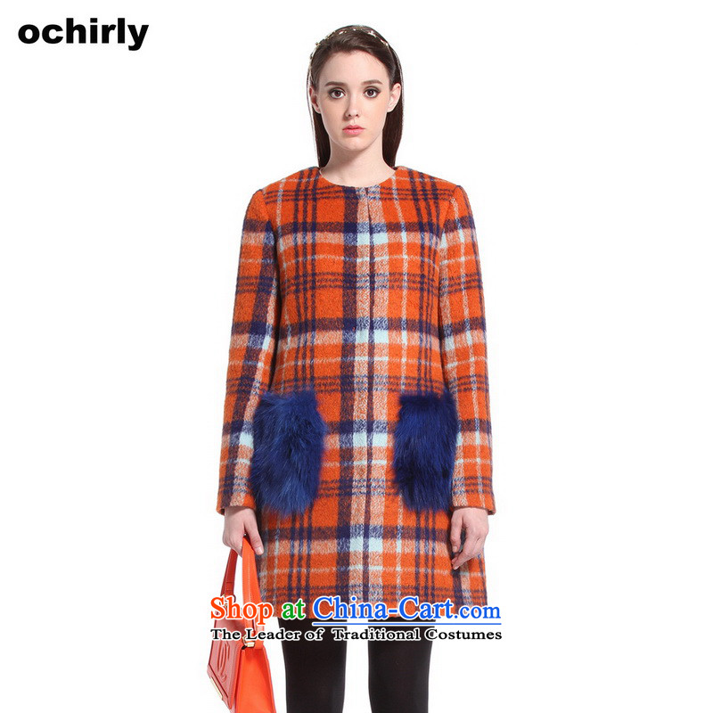 The new Europe, ochirly Women of England in the stitching grid long hairs? overcoat 1144341470 of 959 M(165/88a) orange