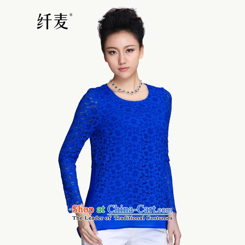 The former Yugoslavia Migdal Code women 2015 Autumn replacing the new fat mm chiffon lace stitching 951365158 shirt blue�L Sau San