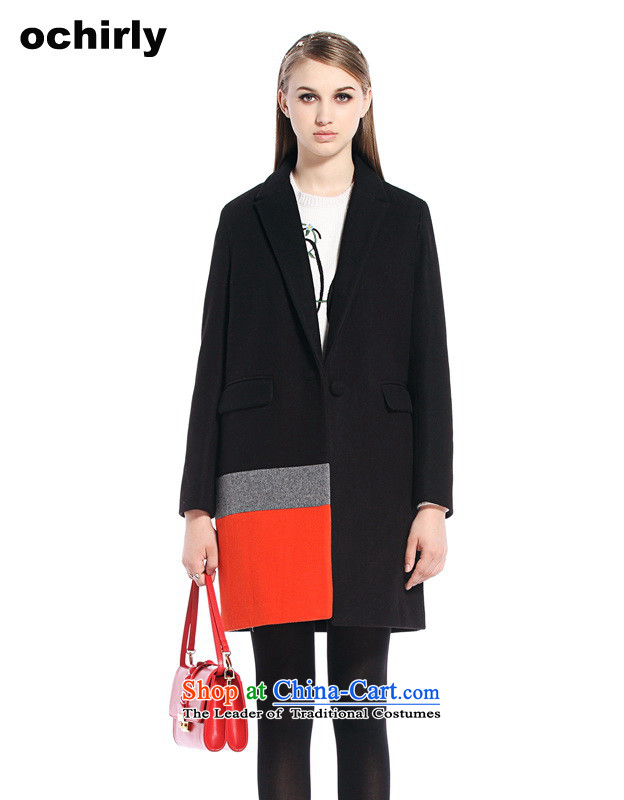 The new Europe, ochirly female knocked color stitching in long suit? overcoat 1144341570 gross black L_170_92a_ 090