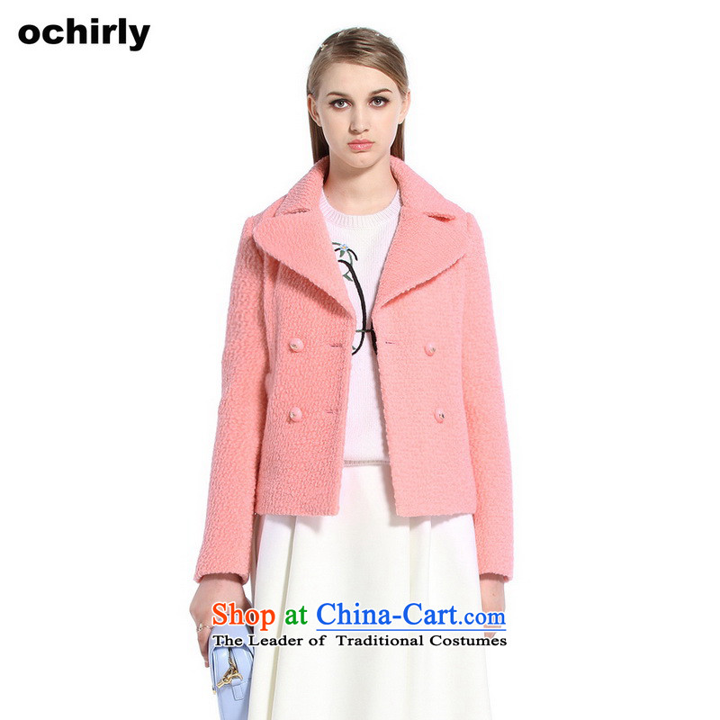 The new Europe, ochirly female sweet double-reverse collar loose thick wool coat 1144341630? light pink M_165_88a_ Orange 451
