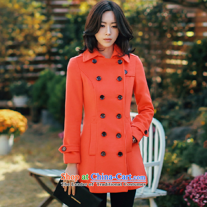 The half-timbered new autumn and winter in long long-sleeved gross? female Sau San video thin coat gross? female jacket red-orange燣