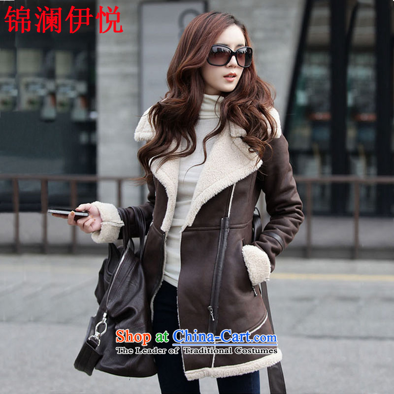 The world of Kam Yuet autumn and winter female starstruck leisure wild Lamb Wool integration fur suede in Long Hoodie Korean fashion a wool coat jacket Brown M