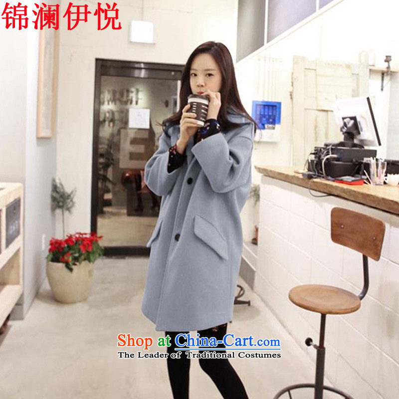 The world of Kam Yuet 2015 autumn and winter, Korean people intensify version mm thick suit in long suit wool a wool coat a dress jacket Connie plus cotton coat jacket soot blue plus lint-free M