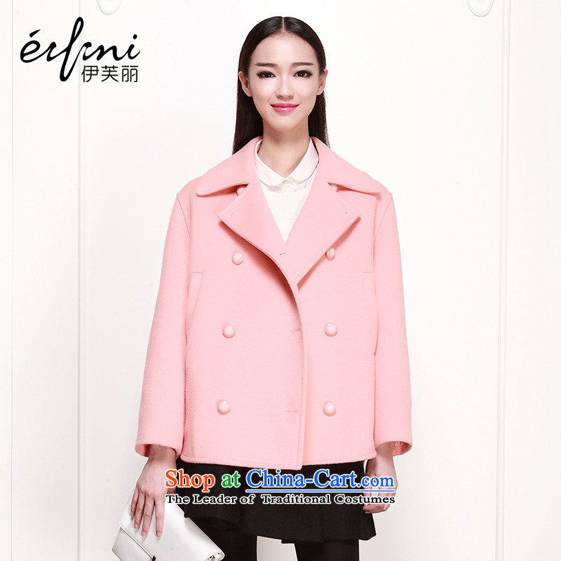 El Boothroyd autumn and winter 2015 new women's double-thick wool a short of the amount? jacket female pink燣